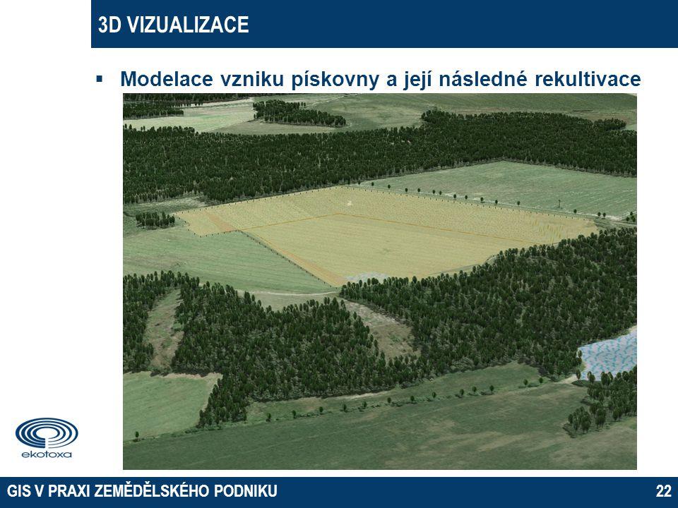 3D VIZUALIZACE  Modelace vzniku pískovny a její následné rekultivace GIS V PRAXI ZEMĚDĚLSKÉHO PODNIKU22