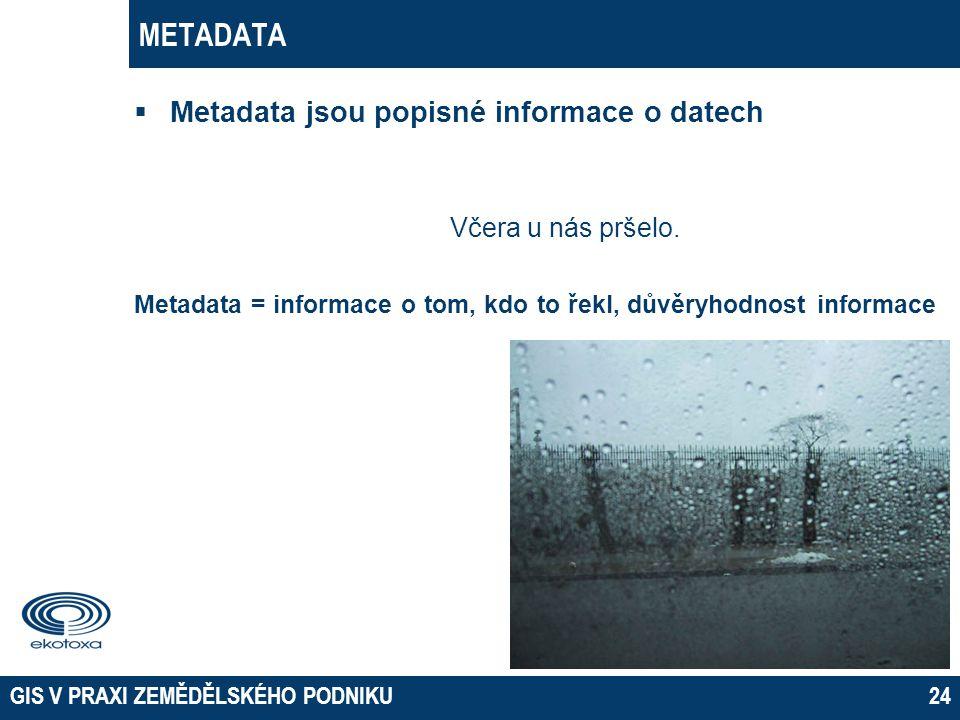 METADATA  Metadata jsou popisné informace o datech Včera u nás pršelo. Metadata = informace o tom, kdo to řekl, důvěryhodnost informace GIS V PRAXI Z