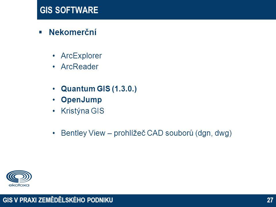 GIS SOFTWARE  Nekomerční •ArcExplorer •ArcReader •Quantum GIS (1.3.0.) •OpenJump •Kristýna GIS •Bentley View – prohlížeč CAD souborů (dgn, dwg) GIS V