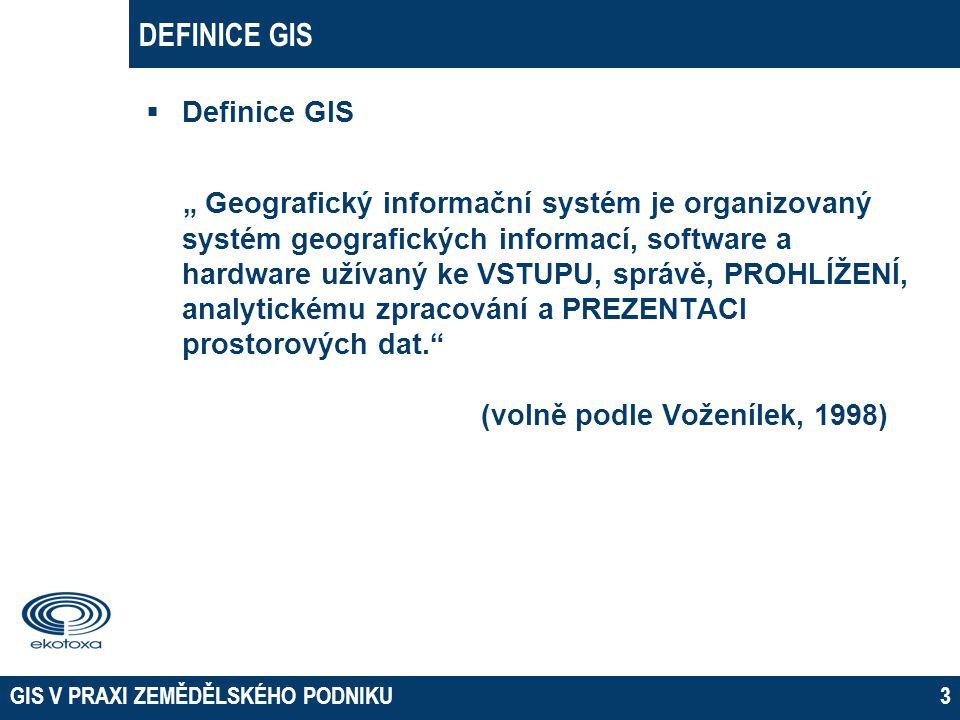 """DEFINICE GIS  Definice GIS """" Geografický informační systém je organizovaný systém geografických informací, software a hardware užívaný ke VSTUPU, spr"""