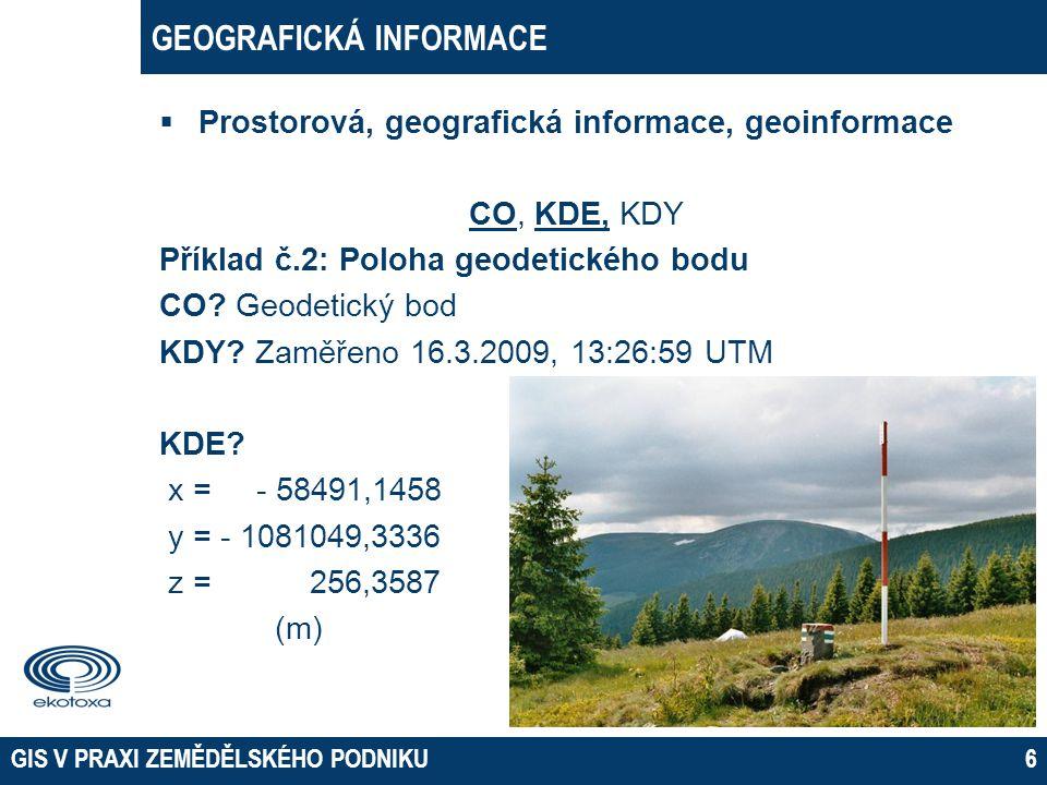 GEOGRAFICKÁ INFORMACE  Prostorová, geografická informace, geoinformace CO, KDE, KDY Příklad č.2: Poloha geodetického bodu CO? Geodetický bod KDY? Zam