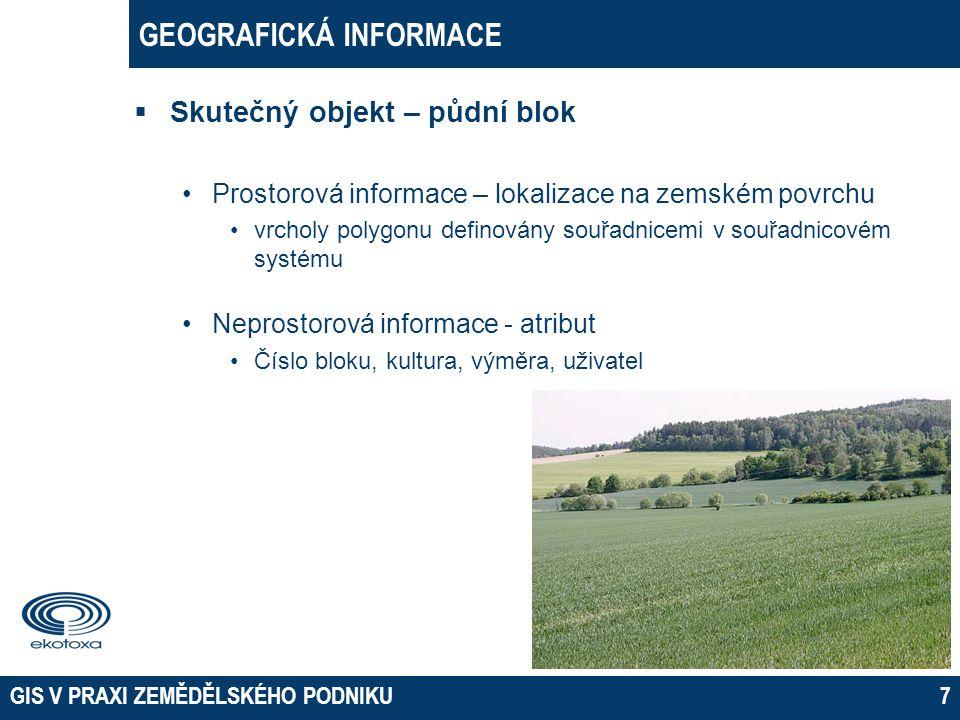 GEOGRAFICKÁ INFORMACE  Skutečný objekt – půdní blok •Prostorová informace – lokalizace na zemském povrchu •vrcholy polygonu definovány souřadnicemi v