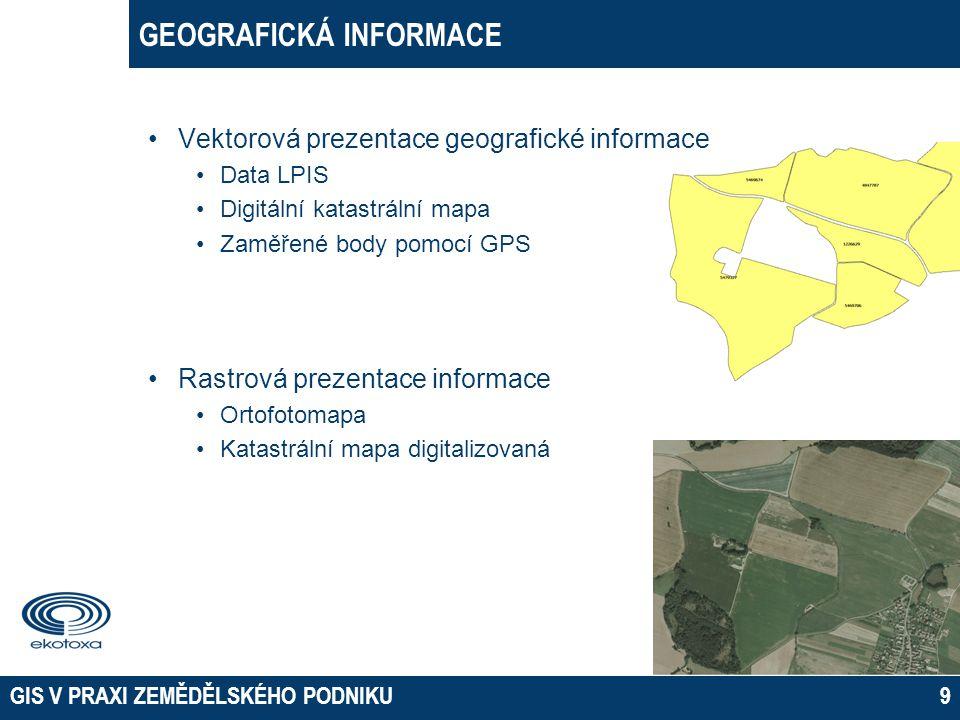 GEOGRAFICKÁ INFORMACE GIS V PRAXI ZEMĚDĚLSKÉHO PODNIKU9 •Vektorová prezentace geografické informace •Data LPIS •Digitální katastrální mapa •Zaměřené b