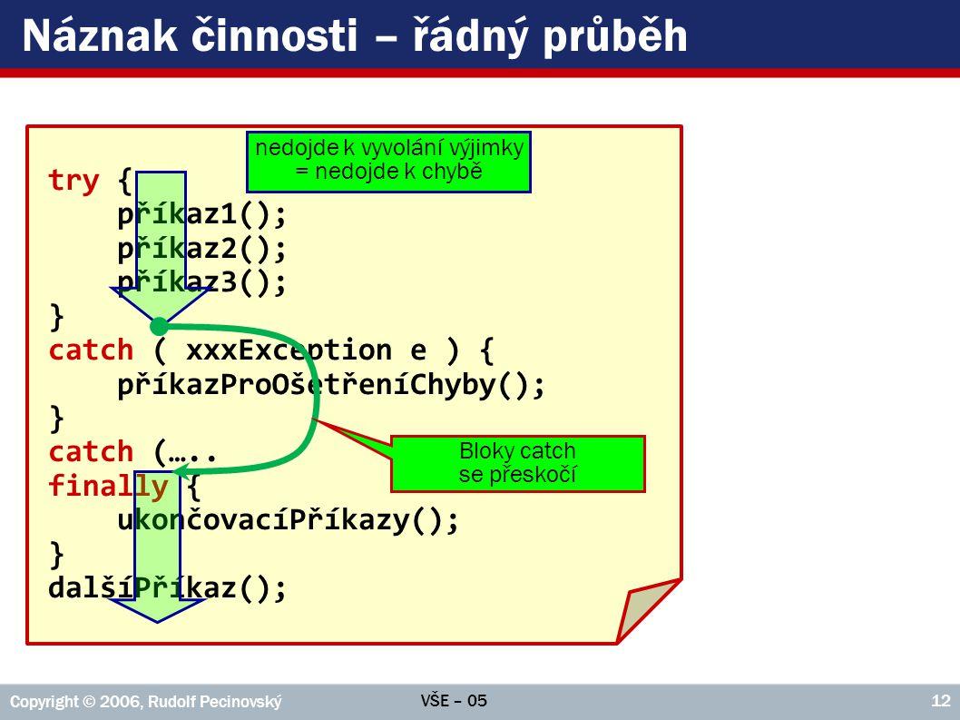 VŠE – 05 Copyright © 2006, Rudolf Pecinovský 12 try { příkaz1(); příkaz2(); příkaz3(); } catch ( xxxException e ) { příkazProOšetřeníChyby(); } catch