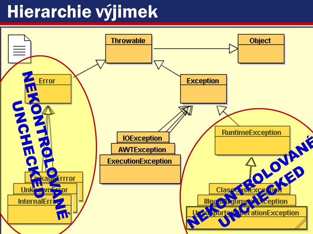 VŠE – 05 Copyright © 2006, Rudolf Pecinovský 18 Hierarchie výjimek NEKONTROLOVANÉ UNCHECKED NEKONTROLOVANÉ UNCHECKED