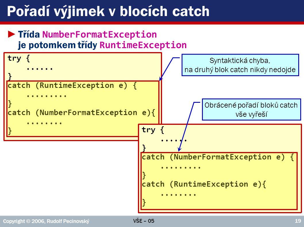 VŠE – 05 Copyright © 2006, Rudolf Pecinovský 19 Pořadí výjimek v blocích catch ►Třída NumberFormatException je potomkem třídy RuntimeException try {..