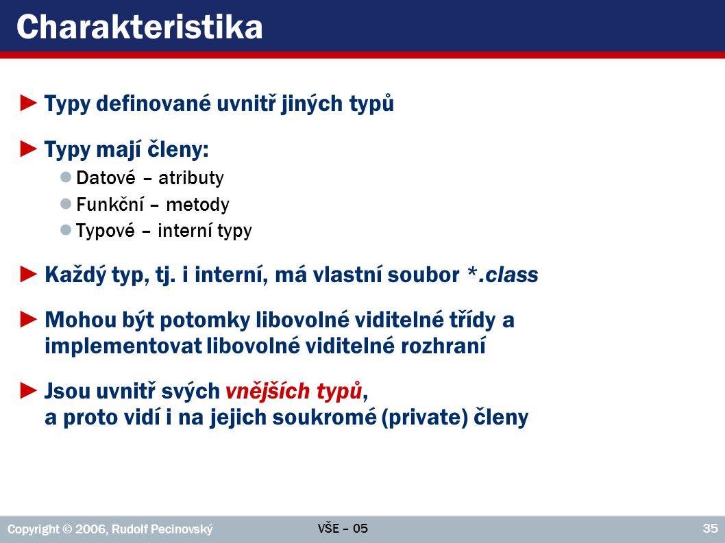 VŠE – 05 Copyright © 2006, Rudolf Pecinovský 35 Charakteristika ►Typy definované uvnitř jiných typů ►Typy mají členy: ● Datové – atributy ● Funkční –