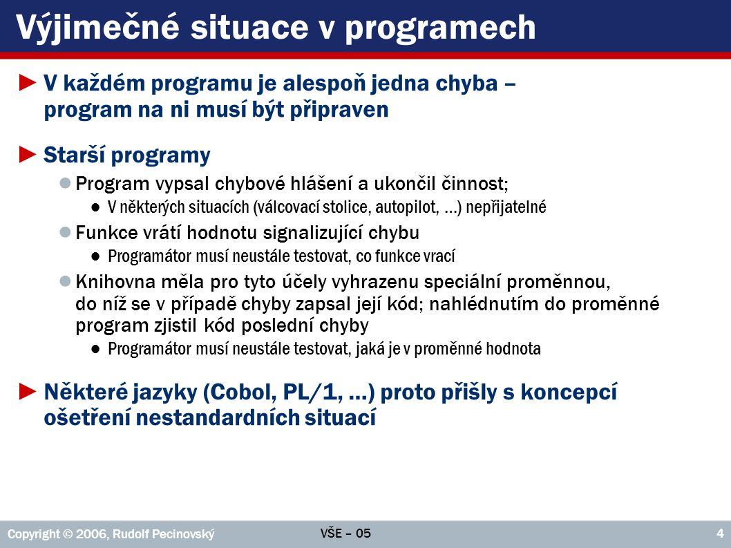 VŠE – 05 Copyright © 2006, Rudolf Pecinovský 4 Výjimečné situace v programech ►V každém programu je alespoň jedna chyba – program na ni musí být připr