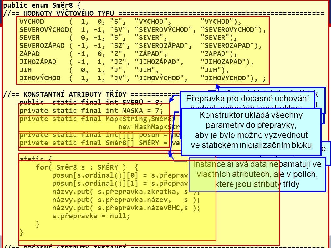 VŠE – 05 Copyright © 2006, Rudolf Pecinovský 42 Příklad 1: třída Směr8 public enum Směr8 { //== HODNOTY VÝČTOVÉHO TYPU ===============================