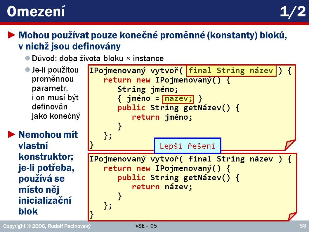 VŠE – 05 Copyright © 2006, Rudolf Pecinovský 53 Omezení1/2 ►Mohou používat pouze konečné proměnné (konstanty) bloků, v nichž jsou definovány ● Důvod: