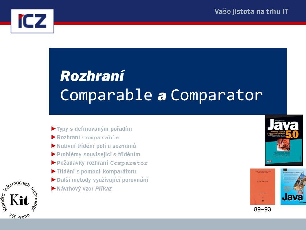 Vaše jistota na trhu IT Rozhraní Comparable a Comparator ►Typy s definovaným pořadím ►Rozhraní Comparable ►Nativní třídění polí a seznamů ►Problémy so