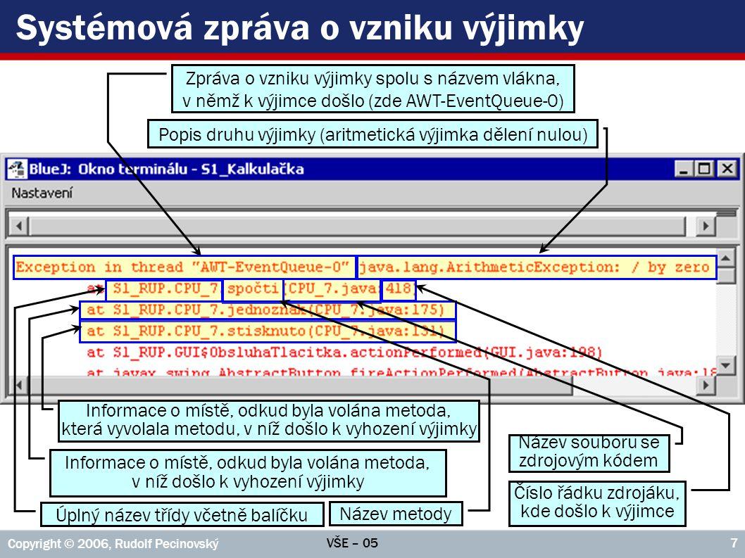 VŠE – 05 Copyright © 2006, Rudolf Pecinovský 7 Systémová zpráva o vzniku výjimky Název metody Informace o místě, odkud byla volána metoda, v níž došlo