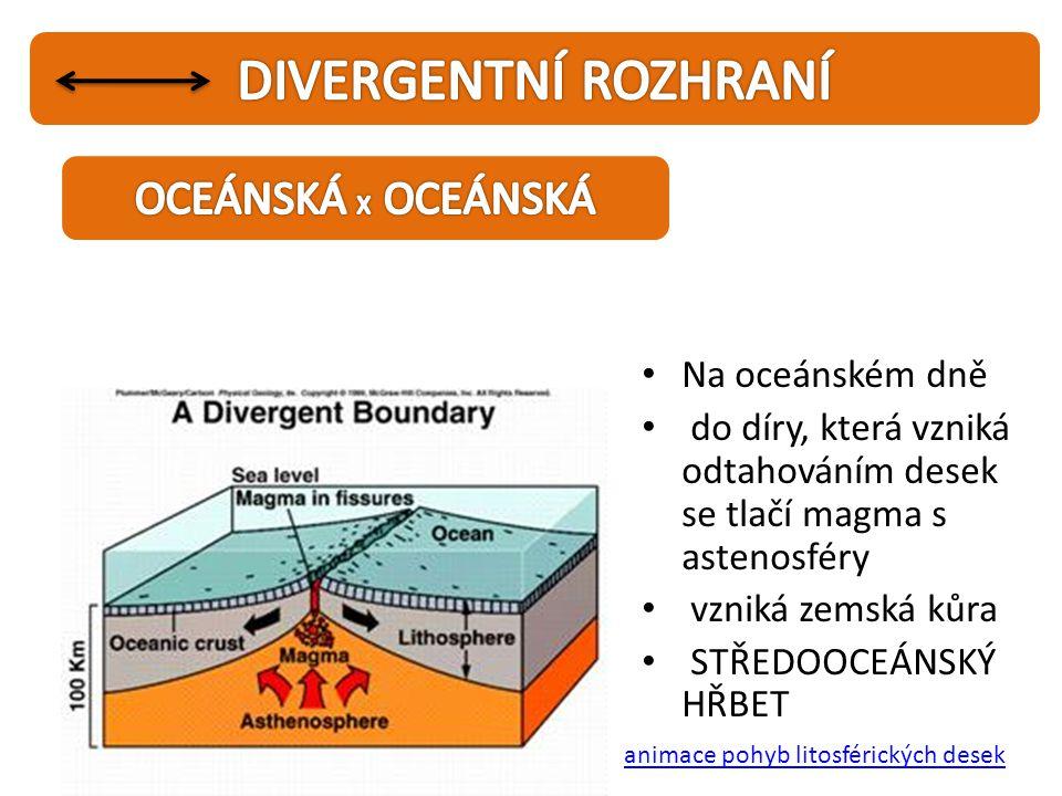 • Na oceánském dně • do díry, která vzniká odtahováním desek se tlačí magma s astenosféry • vzniká zemská kůra • STŘEDOOCEÁNSKÝ HŘBET animace pohyb li