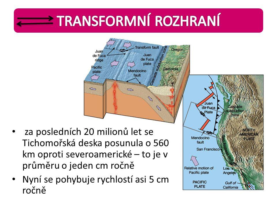 • za posledních 20 milionů let se Tichomořská deska posunula o 560 km oproti severoamerické – to je v průměru o jeden cm ročně • Nyní se pohybuje rych