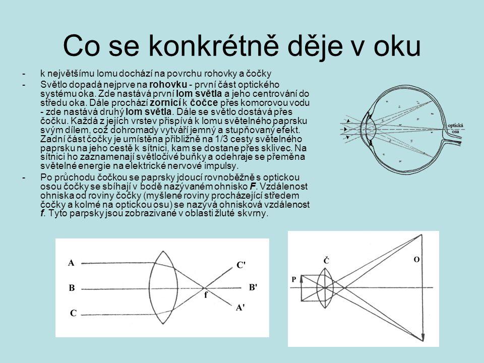 Co se konkrétně děje v oku -k největšímu lomu dochází na povrchu rohovky a čočky -Světlo dopadá nejprve na rohovku - první část optického systému oka.