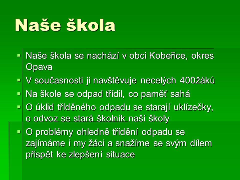 Naše škola  Naše škola se nachází v obci Kobeřice, okres Opava  V současnosti ji navštěvuje necelých 400žáků  Na škole se odpad třídil, co paměť sa