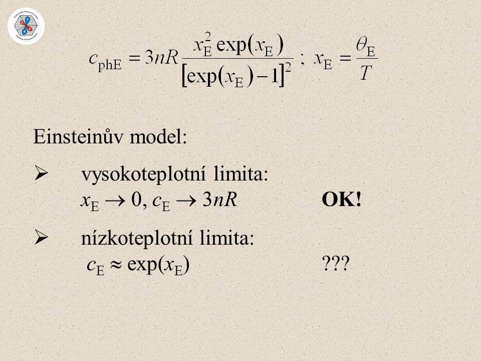 Einsteinův model:  vysokoteplotní limita: x E  0, c E  3nROK!  nízkoteplotní limita: c E  exp(x E )???