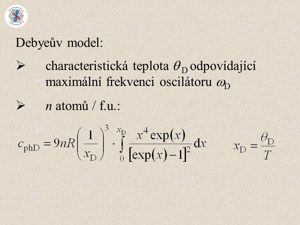 Debyeův model:  characteristická teplota  D odpovídající maximální frekvenci oscilátoru  D  n atomů / f.u.: