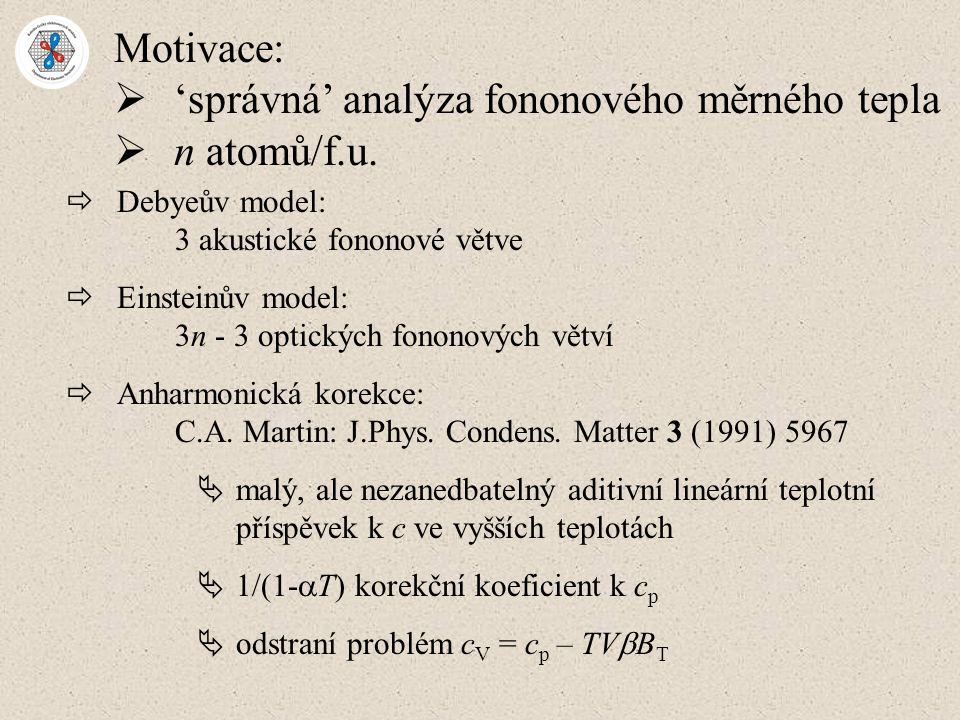 Motivace:  'správná' analýza fononového měrného tepla  n atomů/f.u.  Debyeův model: 3 akustické fononové větve  Einsteinův model: 3n - 3 optických