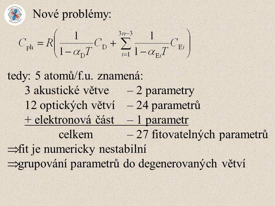 Nové problémy: tedy: 5 atomů/f.u. znamená: 3 akustické větve – 2 parametry 12 optických větví – 24 parametrů + elektronová část – 1 parametr celkem– 2