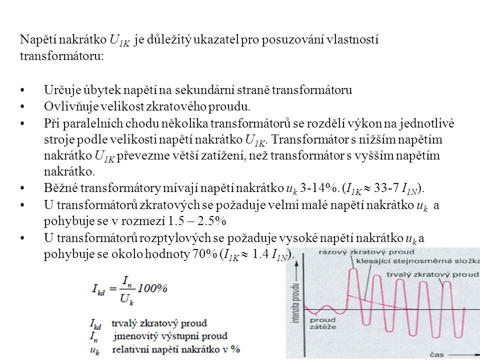 Napětí nakrátko U 1K je důležitý ukazatel pro posuzování vlastností transformátoru: •Určuje úbytek napětí na sekundární straně transformátoru •Ovlivňuje velikost zkratového proudu.
