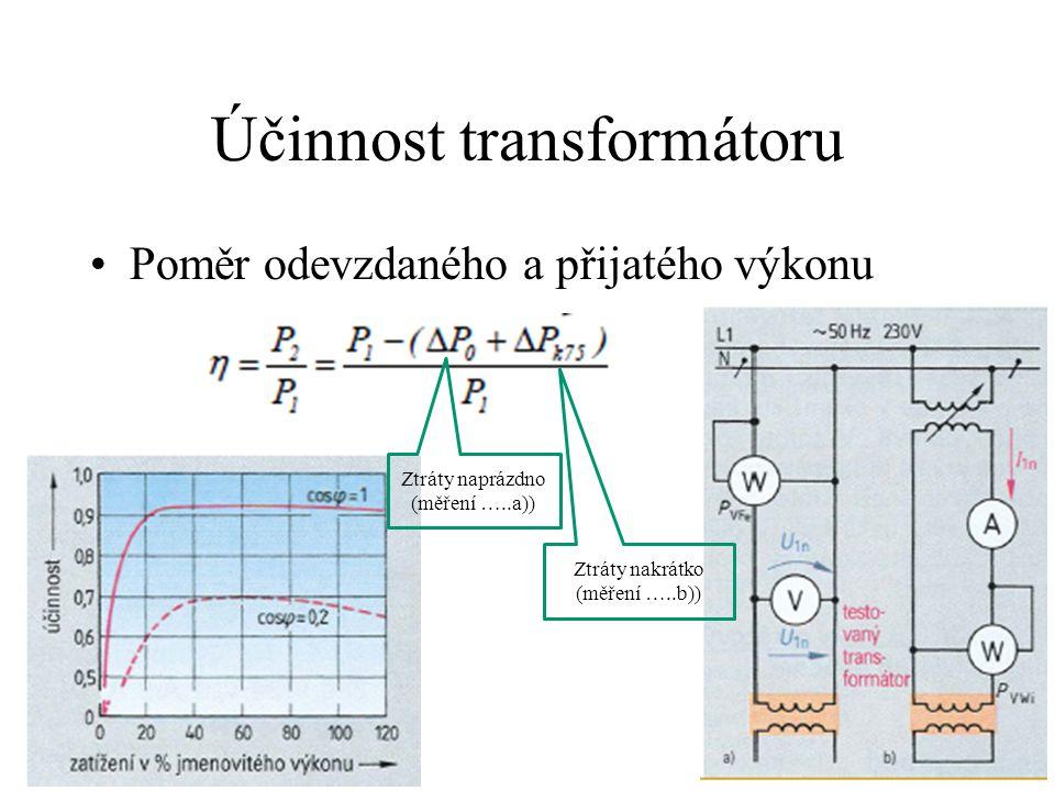 Účinnost transformátoru •Poměr odevzdaného a přijatého výkonu Ztráty naprázdno (měření …..a)) Ztráty nakrátko (měření …..b))