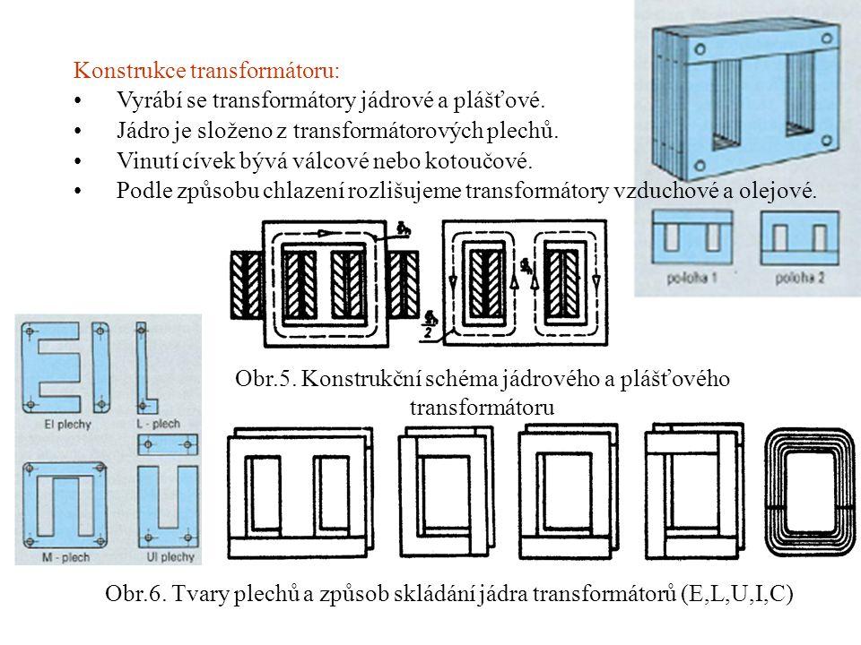 Konstrukce transformátoru: •Vyrábí se transformátory jádrové a plášťové. •Jádro je složeno z transformátorových plechů. •Vinutí cívek bývá válcové neb