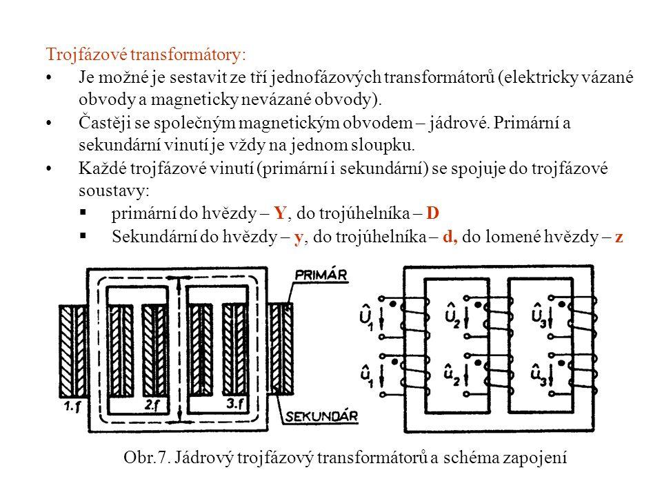 Trojfázové transformátory: •Je možné je sestavit ze tří jednofázových transformátorů (elektricky vázané obvody a magneticky nevázané obvody).