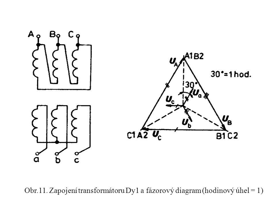 Obr.11. Zapojení transformátoru Dy1 a fázorový diagram (hodinový úhel = 1)