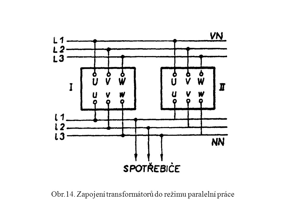 Obr.14. Zapojení transformátorů do režimu paralelní práce