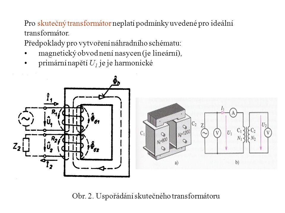 Pro skutečný transformátor neplatí podmínky uvedené pro ideální transformátor. Předpoklady pro vytvoření náhradního schématu: •magnetický obvod není n