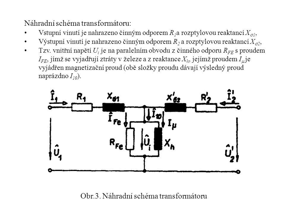 Obr.3. Náhradní schéma transformátoru Náhradní schéma transformátoru: •Vstupní vinutí je nahrazeno činným odporem R 1 a rozptylovou reaktancí X  1, •