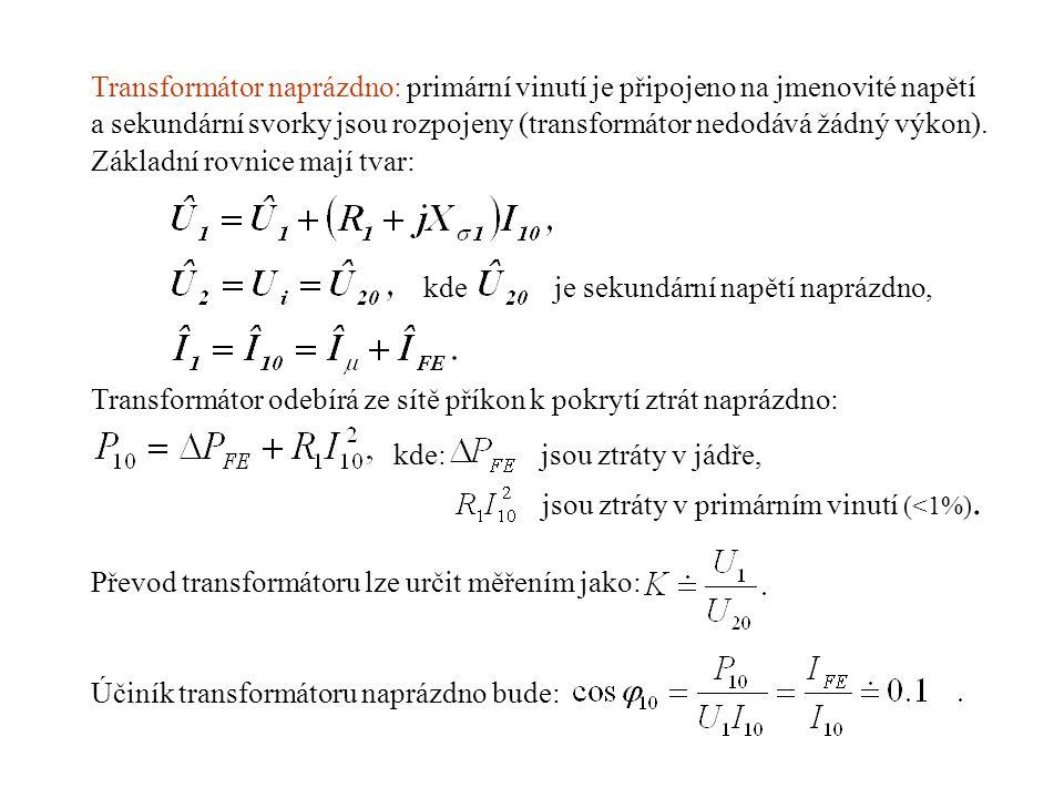 Transformátor naprázdno: primární vinutí je připojeno na jmenovité napětí a sekundární svorky jsou rozpojeny (transformátor nedodává žádný výkon). Zák
