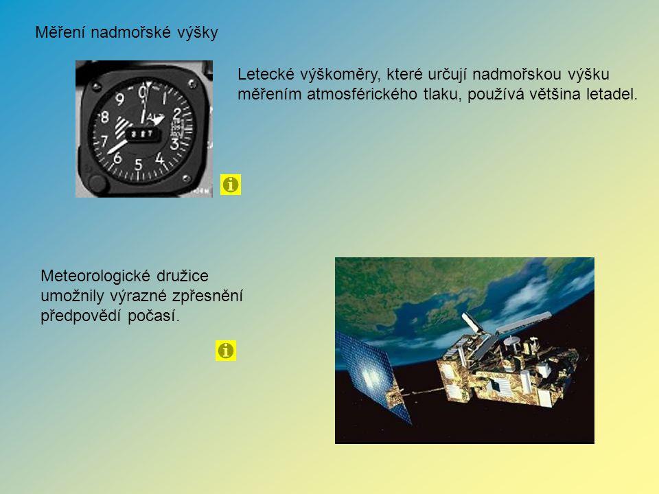 Měření nadmořské výšky Letecké výškoměry, které určují nadmořskou výšku měřením atmosférického tlaku, používá většina letadel. Meteorologické družice