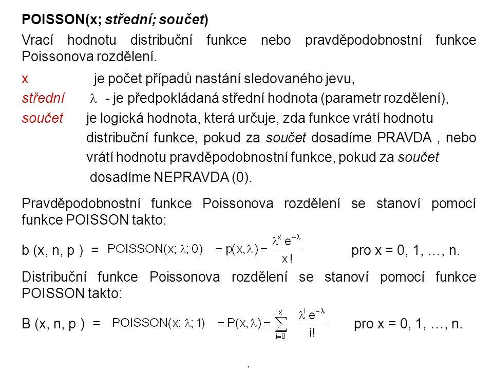POISSON(x; střední; součet) Vrací hodnotu distribuční funkce nebo pravděpodobnostní funkce Poissonova rozdělení. x je počet případů nastání sledovanéh