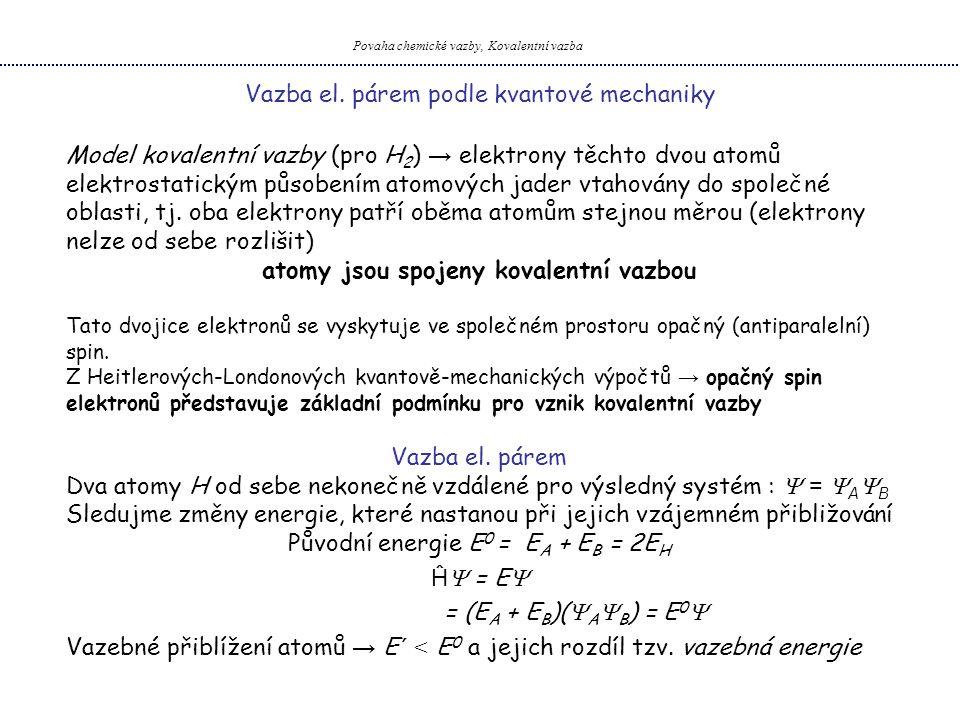 Vazba el. párem podle kvantové mechaniky Povaha chemické vazby, Kovalentní vazba Model kovalentní vazby (pro H 2 ) → elektrony těchto dvou atomů elekt