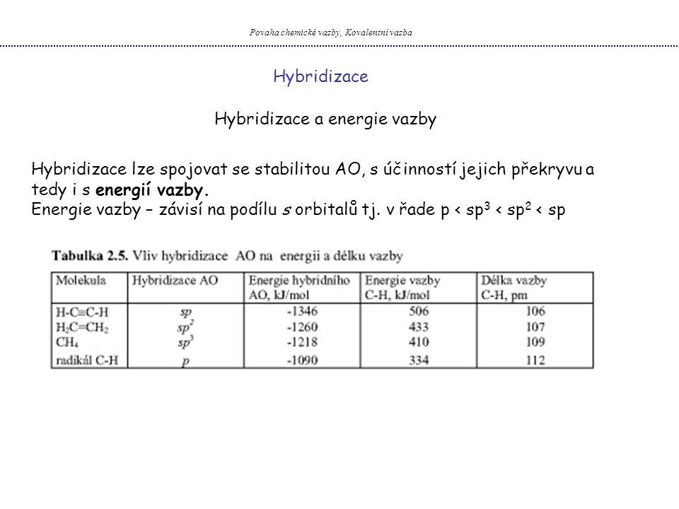 Povaha chemické vazby, Kovalentní vazba Hybridizace Hybridizace a energie vazby Hybridizace lze spojovat se stabilitou AO, s účinností jejich překryvu