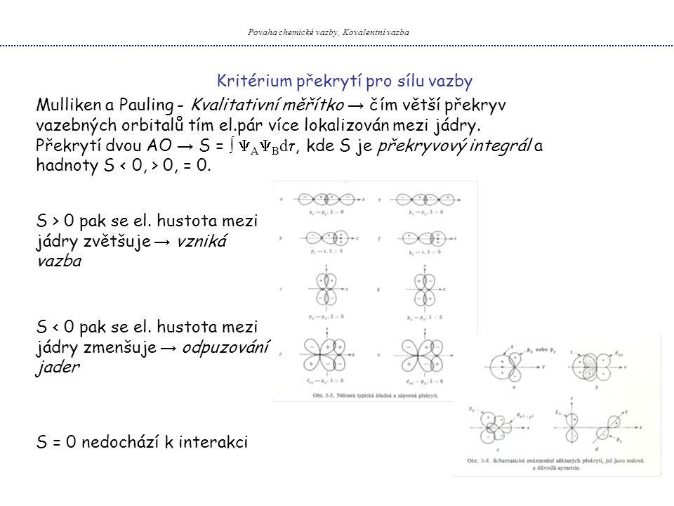 Povaha chemické vazby, Kovalentní vazba Kritérium překrytí pro sílu vazby Mulliken a Pauling - Kvalitativní měřítko → čím větší překryv vazebných orbi