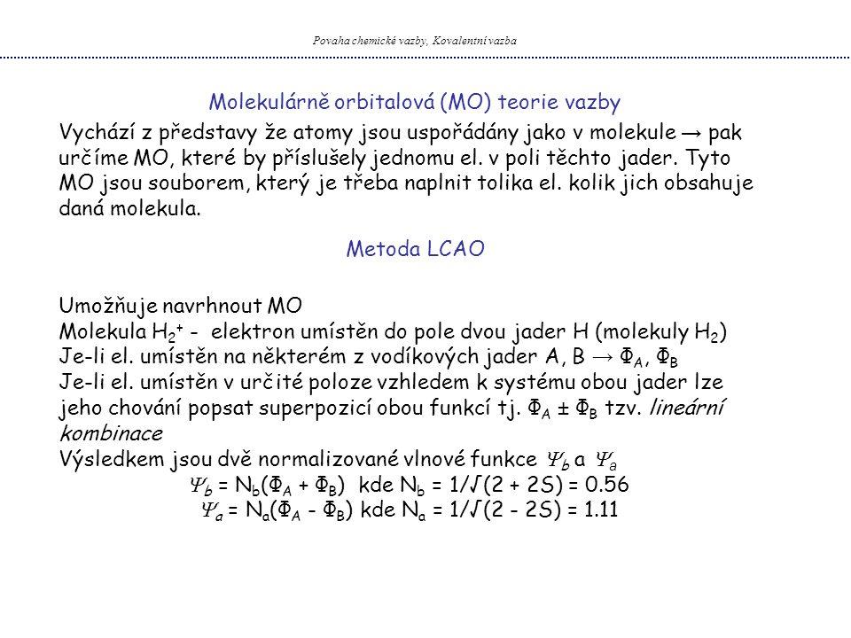 Povaha chemické vazby, Kovalentní vazba Molekulárně orbitalová (MO) teorie vazby Vychází z představy že atomy jsou uspořádány jako v molekule → pak ur