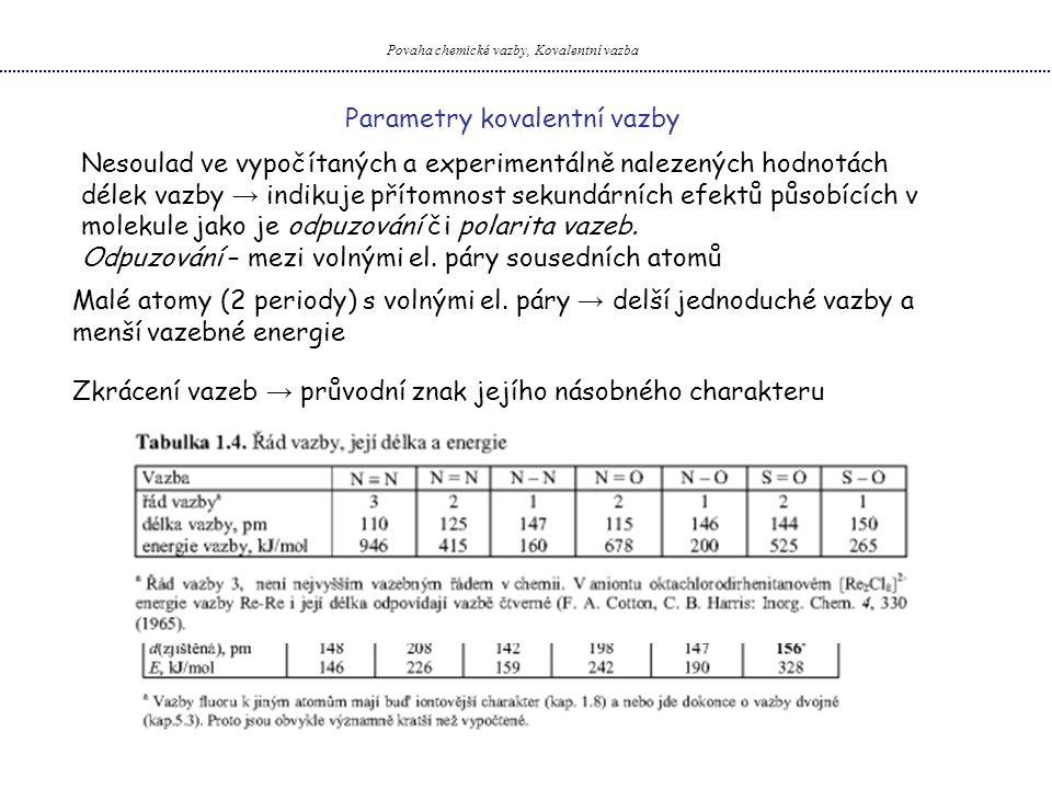 Povaha chemické vazby, Kovalentní vazba Parametry kovalentní vazby Nesoulad ve vypočítaných a experimentálně nalezených hodnotách délek vazby → indiku