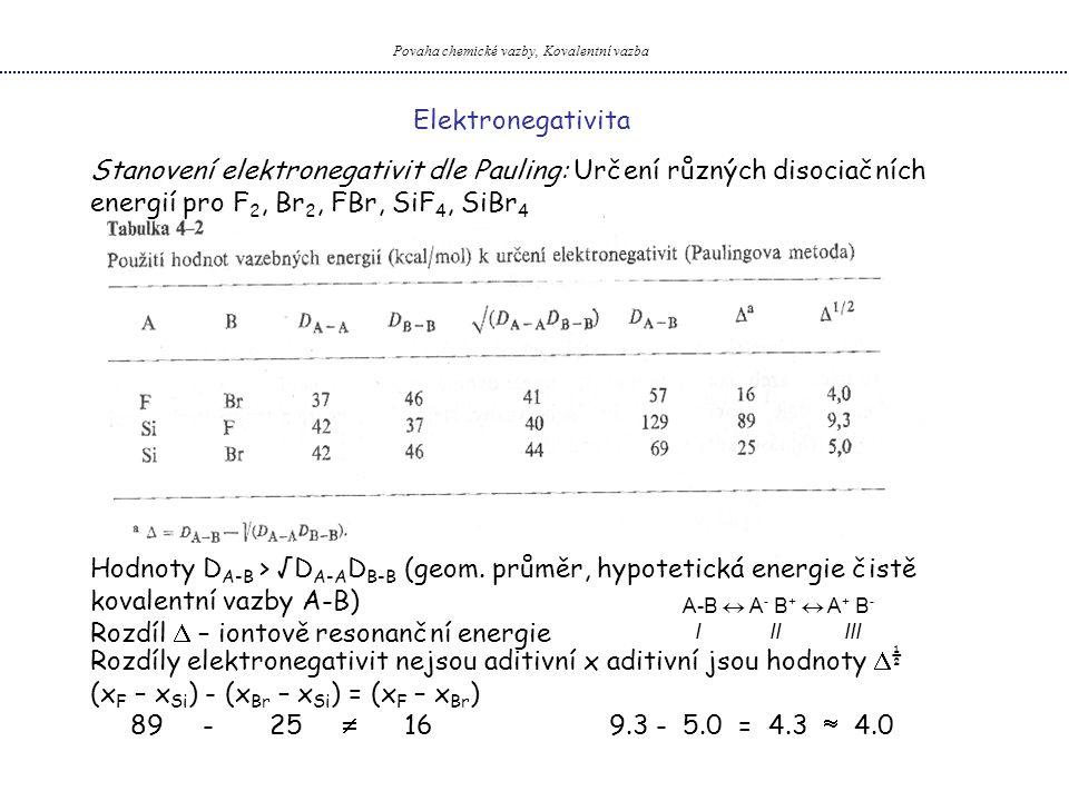 Povaha chemické vazby, Kovalentní vazba Elektronegativita Stanovení elektronegativit dle Pauling: Určení různých disociačních energií pro F 2, Br 2, F