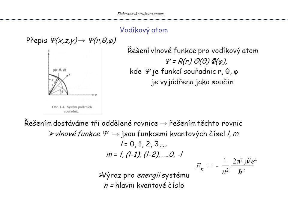 Vodíkový atom Přepis  (x,z,y) →  (r,θ,φ) Řešení vlnové funkce pro vodíkový atom  = R(r) Θ(θ) Φ(φ), kde  je funkcí souřadnic r, θ, φ je vyjádřena j