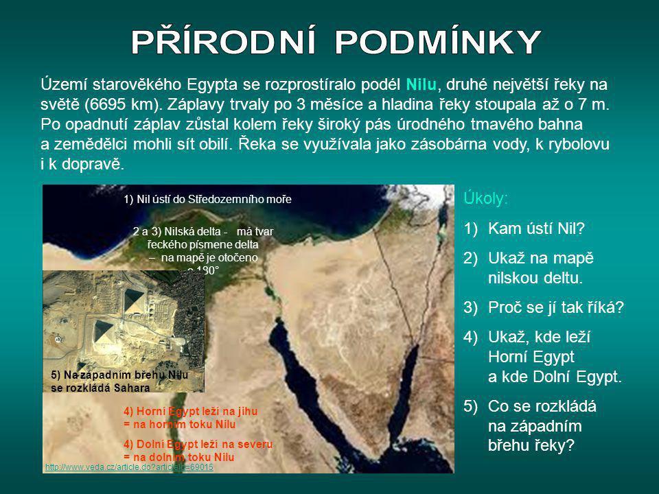 Území starověkého Egypta se rozprostíralo podél Nilu, druhé největší řeky na světě (6695 km). Záplavy trvaly po 3 měsíce a hladina řeky stoupala až o