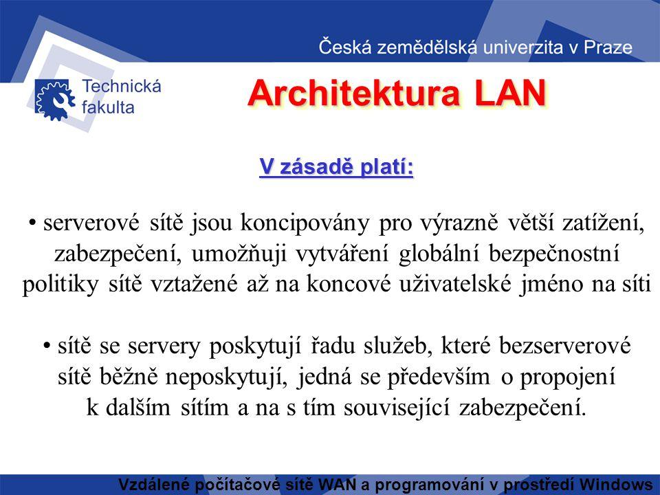 Vzdálené počítačové sítě WAN a programování v prostředí Windows Architektura LAN V zásadě platí: • čím více pracovních stanic, tím spíše je vhodné zvo