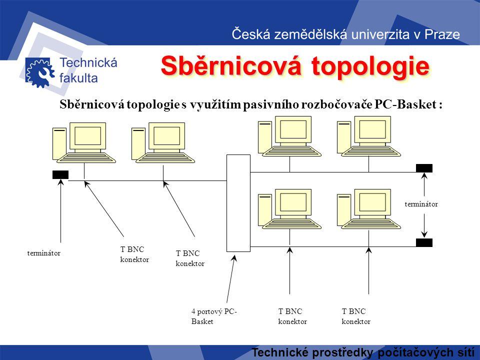 Technické prostředky počítačových sítí Sběrnicová topologie terminátor T BNC konektor terminátor 4 portový PC- Basket T BNC konektor Sběrnicová topologie s využitím pasivního rozbočovače PC-Basket :