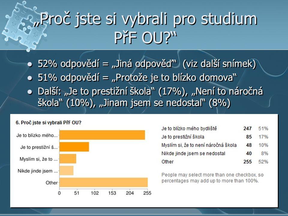 """""""Proč jste si vybrali pro studium PřF OU  52% odpovědí = """"Jiná odpověď (viz další snímek)  51% odpovědí = """"Protože je to blízko domova  Další: """"Je to prestižní škola (17%), """"Není to náročná škola (10%), """"Jinam jsem se nedostal (8%)  52% odpovědí = """"Jiná odpověď (viz další snímek)  51% odpovědí = """"Protože je to blízko domova  Další: """"Je to prestižní škola (17%), """"Není to náročná škola (10%), """"Jinam jsem se nedostal (8%)"""