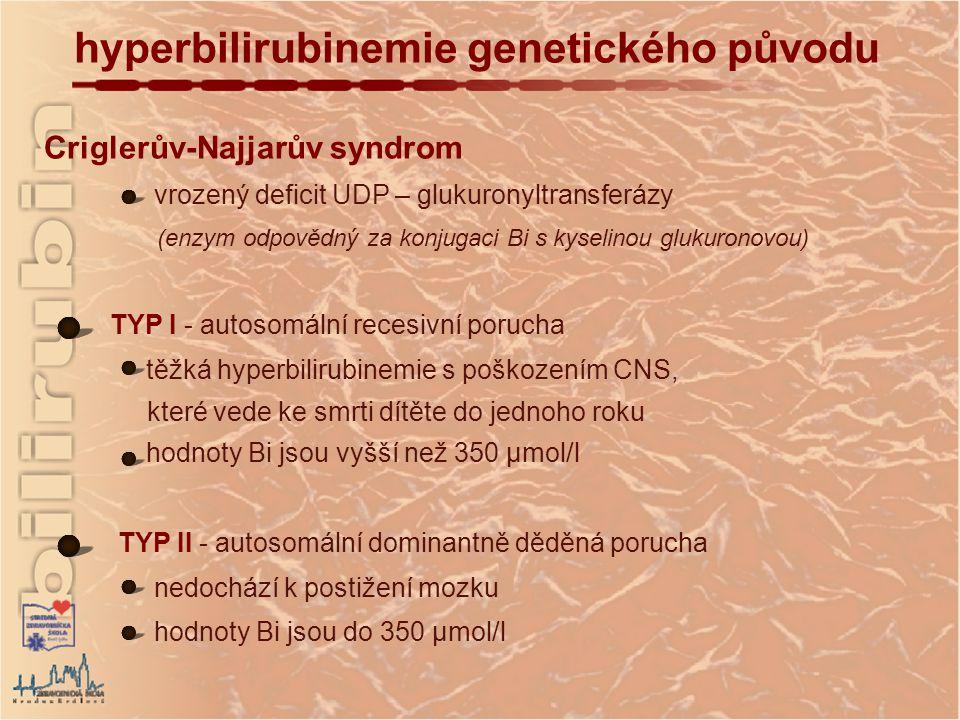 hyperbilirubinemie genetického původu Criglerův-Najjarův syndrom vrozený deficit UDP – glukuronyltransferázy (enzym odpovědný za konjugaci Bi s kyselinou glukuronovou) TYP I - autosomální recesivní porucha těžká hyperbilirubinemie s poškozením CNS, které vede ke smrti dítěte do jednoho roku hodnoty Bi jsou vyšší než 350 µmol/l TYP II - autosomální dominantně děděná porucha nedochází k postižení mozku hodnoty Bi jsou do 350 µmol/l