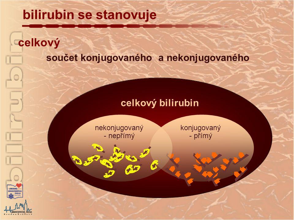 celkový součet konjugovaného a nekonjugovaného celkový bilirubin bilirubin se stanovuje konjugovaný - přímý nekonjugovaný - nepřímý