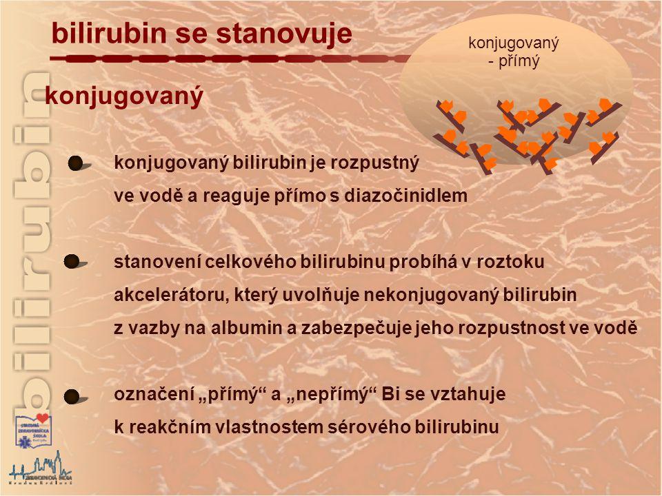 """konjugovaný konjugovaný bilirubin je rozpustný ve vodě a reaguje přímo s diazočinidlem stanovení celkového bilirubinu probíhá v roztoku akcelerátoru, který uvolňuje nekonjugovaný bilirubin z vazby na albumin a zabezpečuje jeho rozpustnost ve vodě označení """"přímý a """"nepřímý Bi se vztahuje k reakčním vlastnostem sérového bilirubinu bilirubin se stanovuje konjugovaný - přímý"""