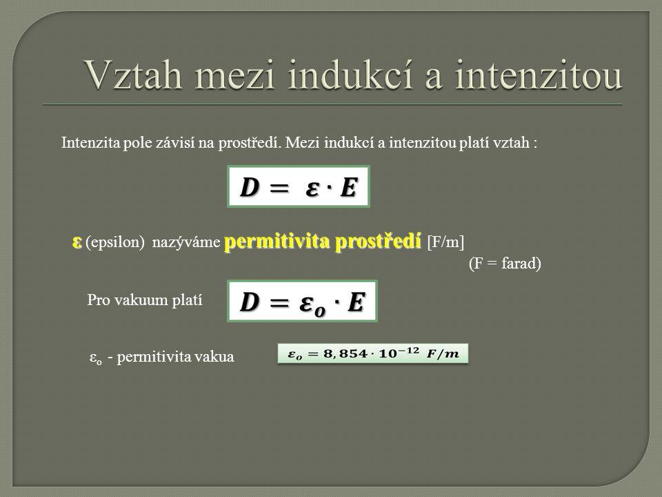 Intenzita pole závisí na prostředí. Mezi indukcí a intenzitou platí vztah : εpermitivita prostředí ε (epsilon) nazýváme permitivita prostředí [F/m] (F